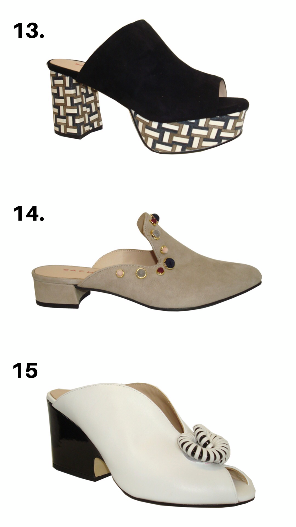- 13. The Power Platforms make a statement when you step into the room. These platforms are so comfortable! We love to pair them with white denim.CLICK TO PURCHASE———————————————14. The Simply Studded mules that can be worn with everything from jeans to dresses. They make a great addition to your work attire. We love that the decorative studs are covered in navy, maroon, and grey suede.CLICK TO PURCHASE———————————————15. The Unicorn Wedges are the most unique open toe black and white mules. Everyone will be asking where you got these fashion forward shoes.CLICK TO PURCHASE