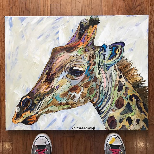 "This beautiful giraffe measures 24""x30"" on gallery wrapped canvas. It is part of my #africansafari series. This piece met my requirement of lots of color while also appearing more ""normal"" for those who prefer my subdued work. Remember everything sold between now and September 4th results in a 20% donation to two different groups in #africa . (A village woman who cares for twenty orphans in her community and a small family run animal reserve) I LOVE being a full time artist. I love creating things like these rich animals. With every series I create I also look to give back and be a blessing to someone. You get to be a part of that. But this is also my only income, so if you know someone who would love this piece send them my way. My family thanks you. And if you ever want to commission a custom piece don't hesitate to reach out. I'd be happy to add you to my to-do list. #rtdalglieshfineart . . . . . . . #wildlifeartist #ilovemyjob #interiordecor #interiordecorating #homedecor #contemporaryart #contemporaryartist #texas #sanangelo #atx #fineart #giraffe #inspired #inspiredbynature #smallbusiness #painting #acrylicartist #dalgliesh #giveback #makeadifference #artthatmatters #dosomething"