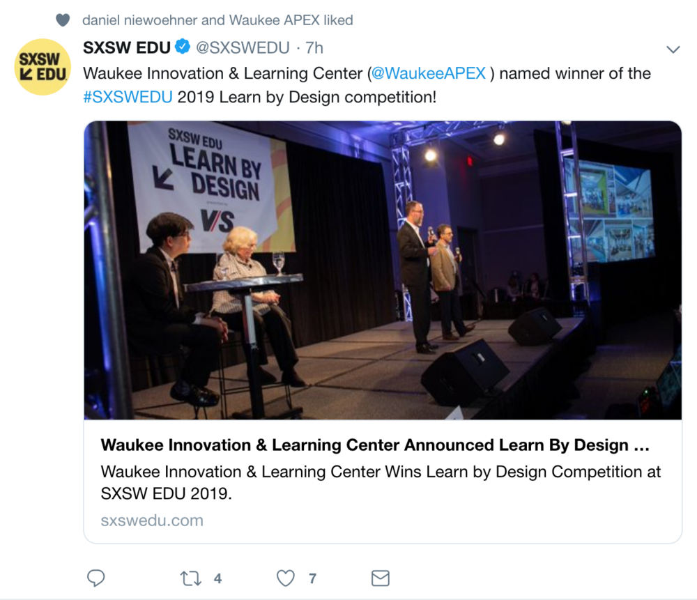 3/8/19  Congratulations to CannonDesign Chicago and INVISION Architecture of Des Moines for their selection as the winner of the 2019 Learn by Design competition at the SXSWedu Conference in Austin, Texas.   I'm very proud to have contributed to the design of the school as a member of The Third Teacher+ team of CannonDesign.  My role was to develop and employ strategic ethnography techniques that gave us the right information about the community and its desire to develop a new type of student learning experience so that we could develop the right design.