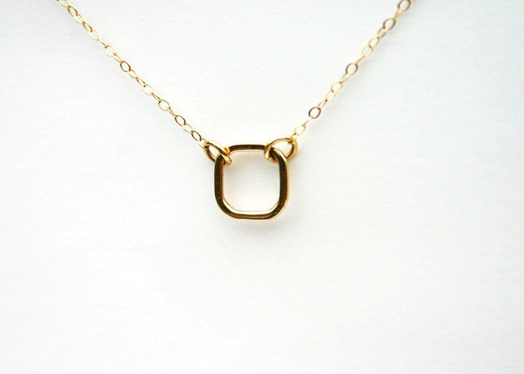 Solid gold jewelry 14k solid gold square pendant necklace small solid gold pendant necklace handmade aloadofball Image collections