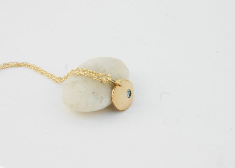 Solid gold jewelry 14k gold aquamarine pendant necklace small solid gold disc pendant with aquamarine gemstone aloadofball Gallery