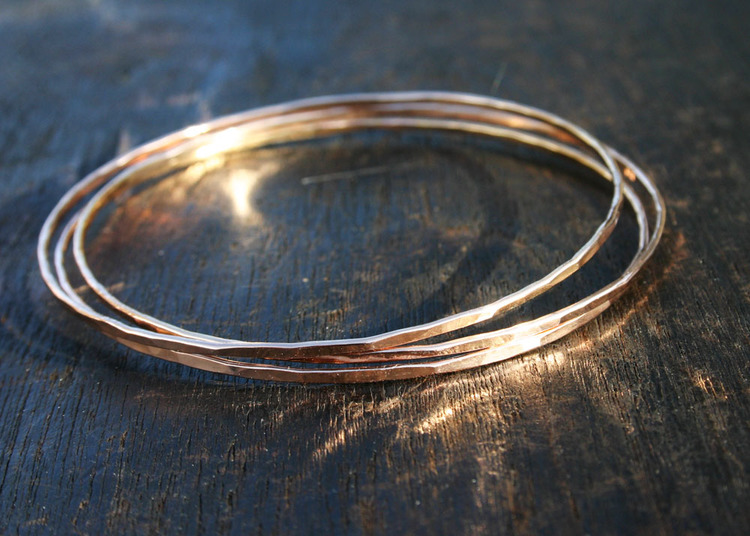 bracelet gold bangle solid img thick bangles hammered jewelry