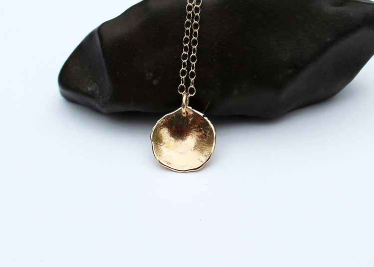 Solid gold jewelry unique solid gold disc pendant necklace 14k gold shell necklace aloadofball Images