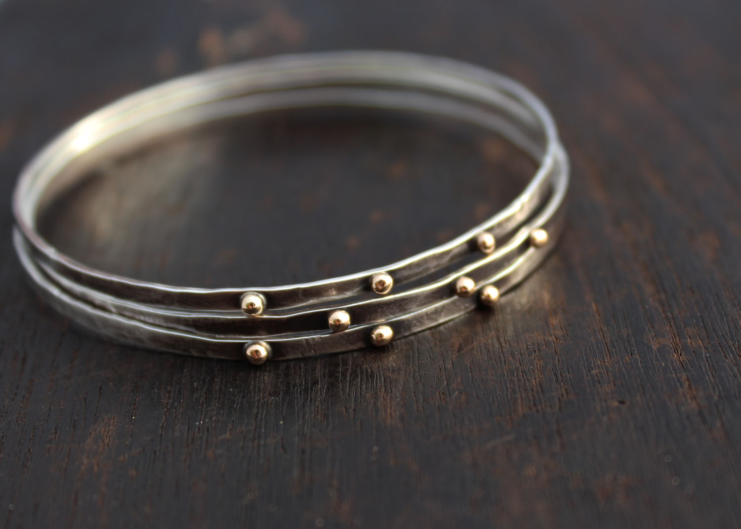 set silver gold and bangle bracelet sterling solid with k bracelets handmade hoops bangles