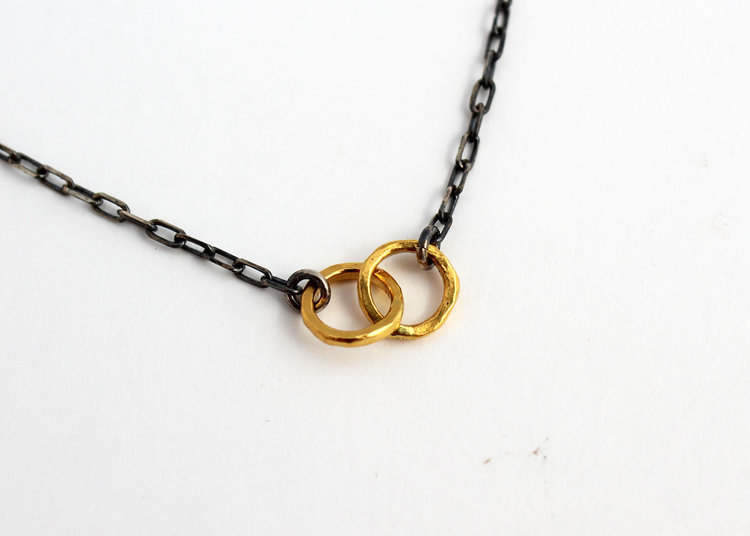 Solid gold jewelry 24k gold necklace silver and gold necklace pure gold pendant with oxidized silver chain aloadofball Choice Image