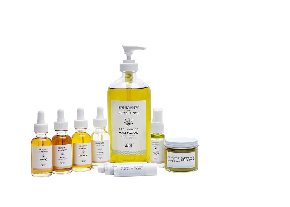 Infused Essentails - Developed exclusively for Estrella Spa, Highland Pantry's collection of CBD infused, all-natural spa products are specially formulated for maximum healing and rejuvenation. Learn more.