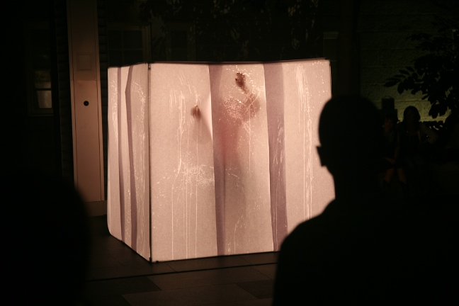 Home,  solo performance,   The National Portrait Gallery,  6 x 6ft box covered in paper, light, water, body, 2011