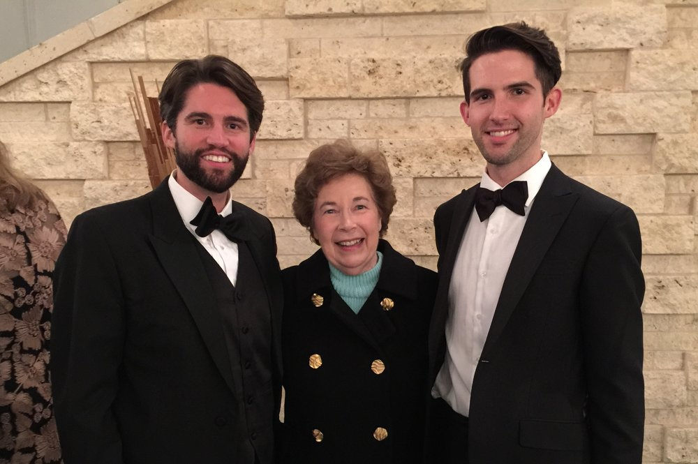 Post performance jubilation following splendid production of Jakub Jan Ryba's delightful Czech Christmas Mass. Left to right, Brock Johnson, bass-baritone; Margaret Jaresh Klečka, CEFT Director, UNT Advisory Committee; and Barrett Radziun, tenor.
