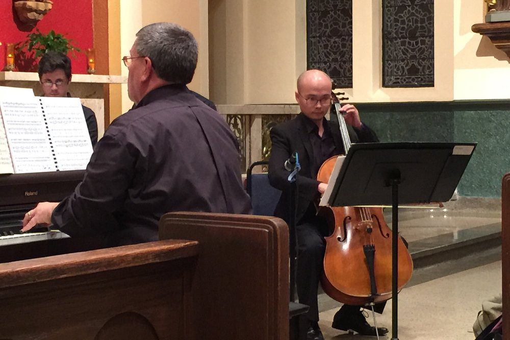 Dr. Thomas Sovik at the organ playing all of the string and wind parts of Ryba's Christmas Mass accompanied by Lejing Zhou on cello.
