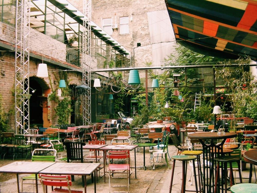 "One ""room"" of Szimpla Kert during the daytime.  This image was found on google"