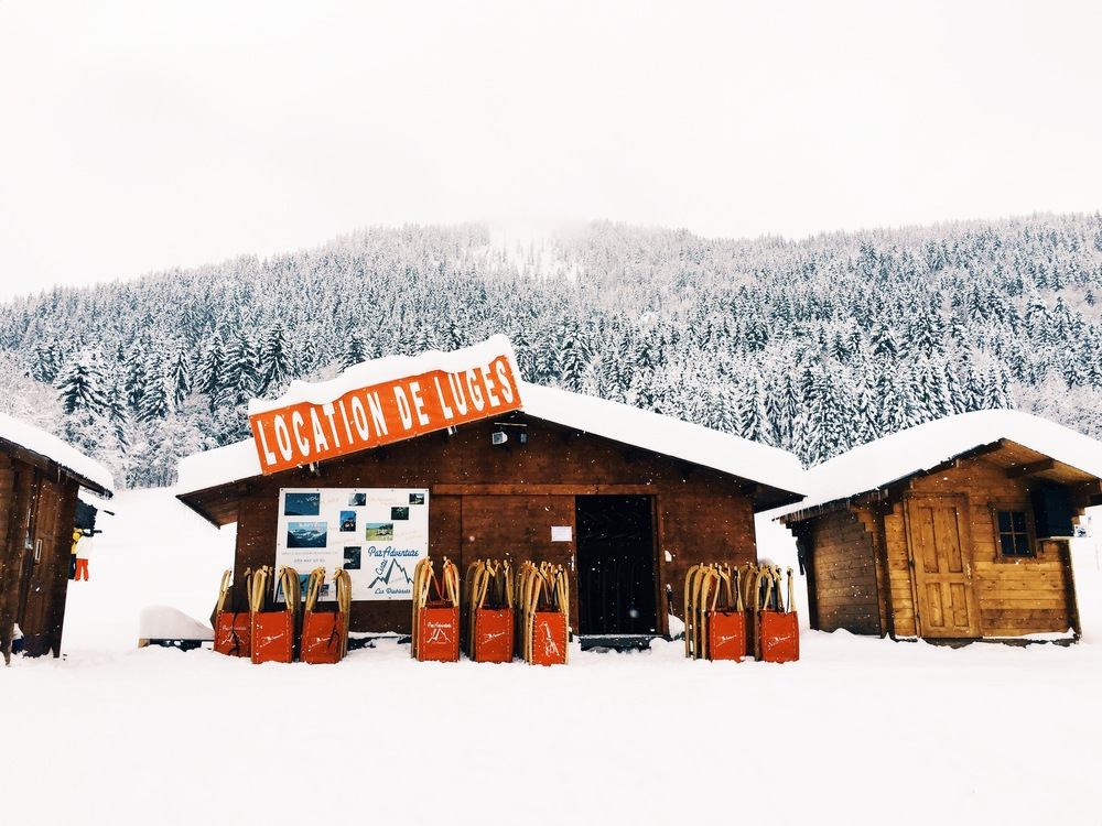Visit this sled shop to buy or rent a cute little sled, and enjoy the fresh powder!