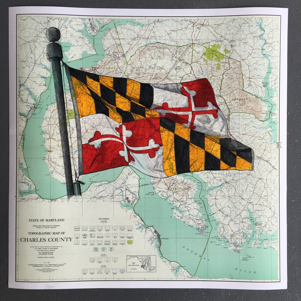 MARYLAND FLAG ON CHARLES COUNTY MD MAP