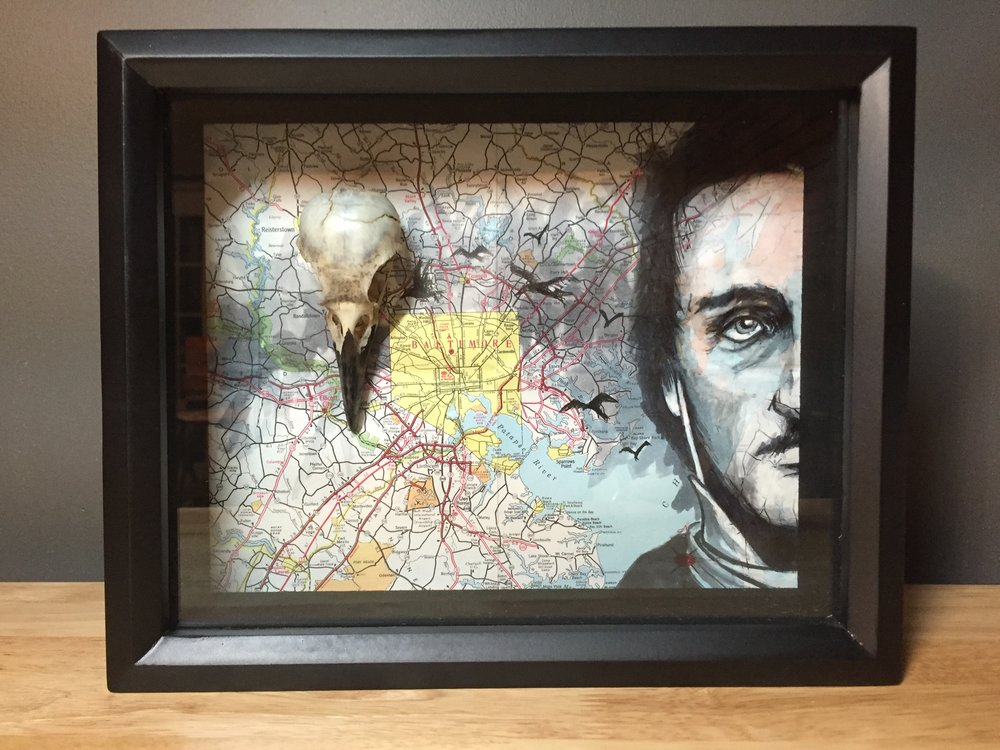 POE W/ REAL CROW SKULL ON MD/BALTIMORE MAP