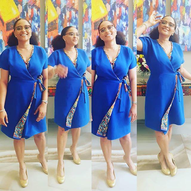 In my #bosslady ensemble  #myfearlesslife  #theMythofSingularity #asoebibella  #blue #wrapdress #lagos #ministerofenjoyment #ministryofmusicformentalwellness  #naijagirlskillingit