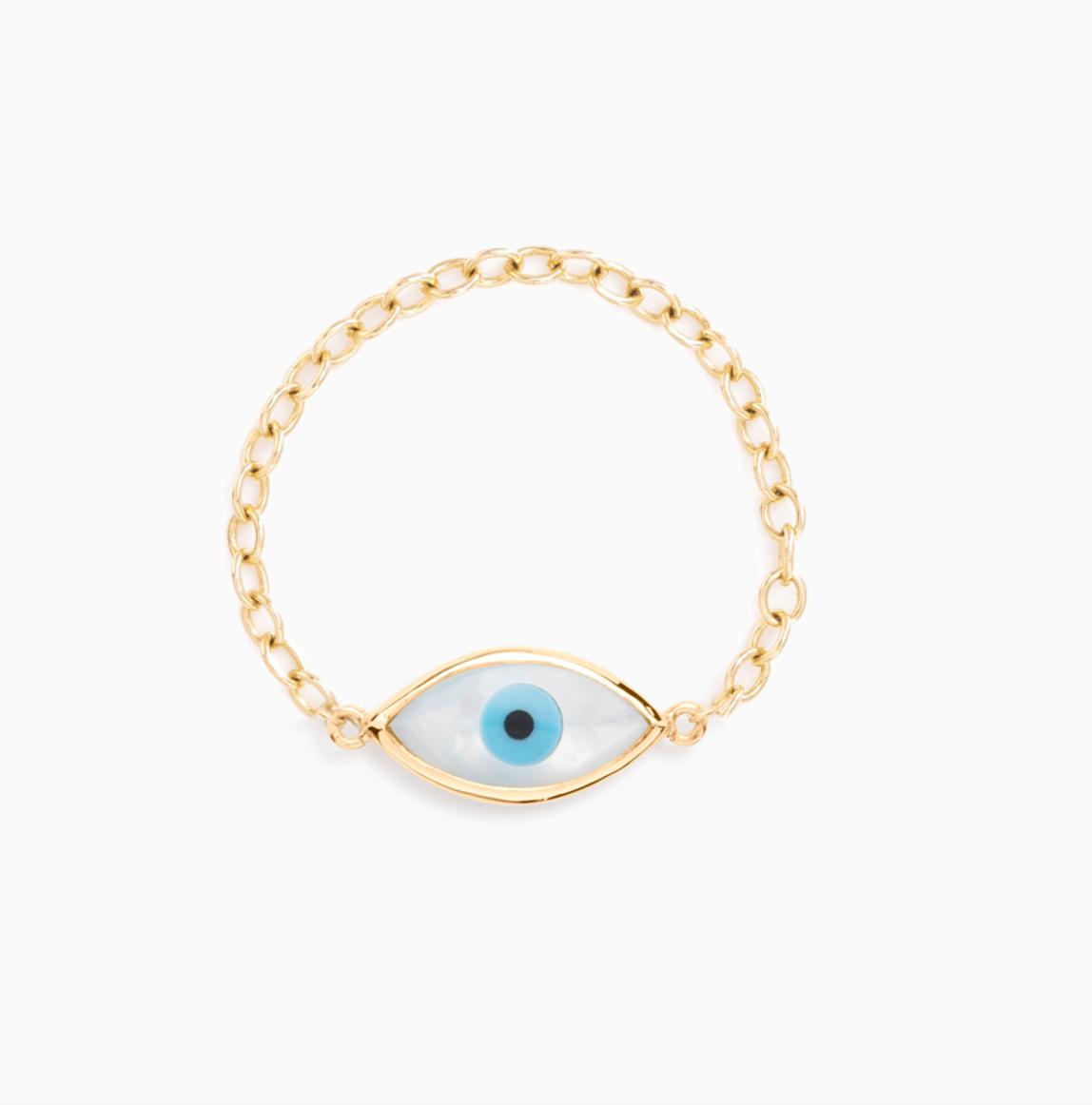 Weekly Obsession Mejuri Evil Eye Chain Ring I Am Sandrine