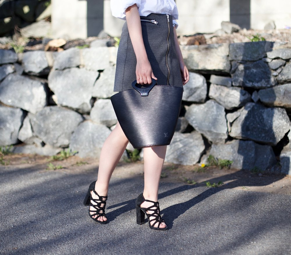 Skirt: Simons / Shoes: BCBG / Bag: Louis Vuitton via Love that Bag / Blouse: Equipment