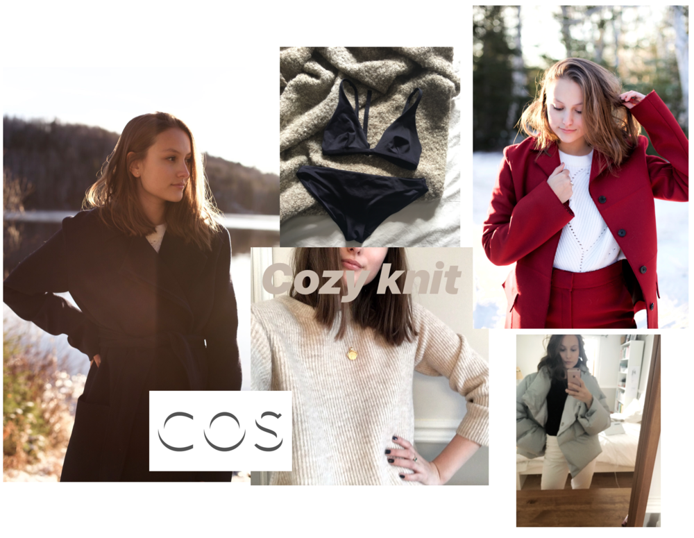 1: COS coat / 2: COS bathing suit / 3: COS knit / 4: COS red coat and trousers / 5: COS puffy coat