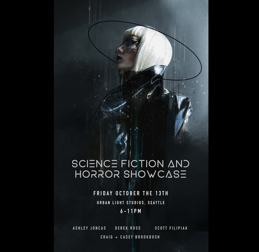 Join me on Friday the 13th, for a night of Science Fiction, Horror, and artwork. Dj's will be spinning beats all night, and I'll be there, showcasing my latest work, and busting a move.
