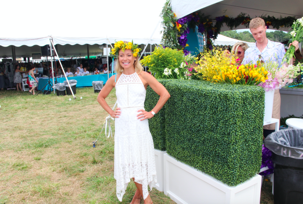 Kelly Ripa, wearing  B Floral  flower crown outside of OCRFA tent
