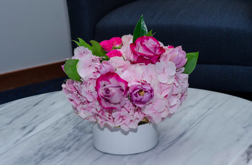 Pink florals were seen throughout centerpieces, bud vases, and cocktail arrangements at the 42nd Annual American Ireland Fund New York Gala on May 4th.
