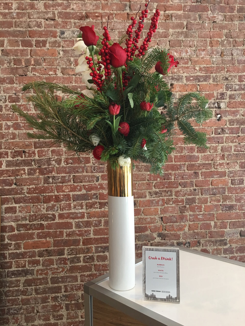 Holiday Florals On Brick - B Floral