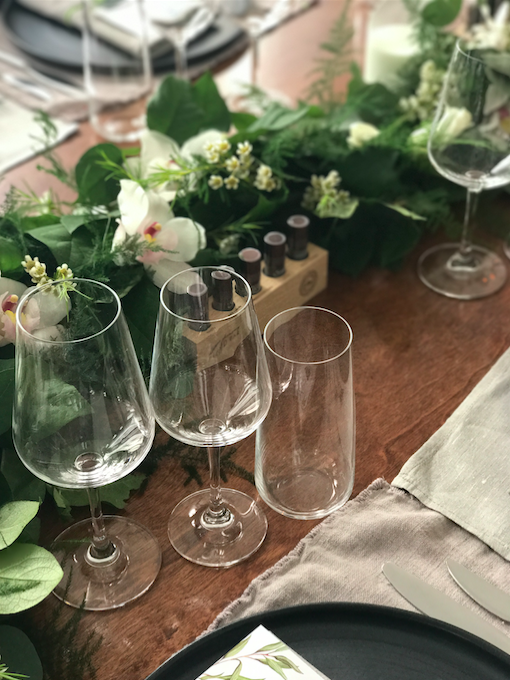 Wine Glass And Tablescape - B Floral
