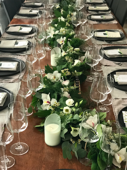 Green And White Tablescape - B Floral