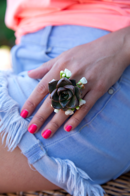 Dark Colored Floral Ring - B Floral