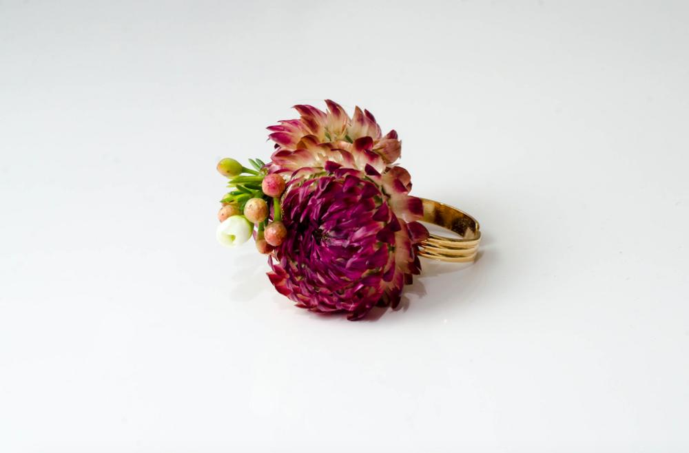 Vibrant Flower Ring - B Floral
