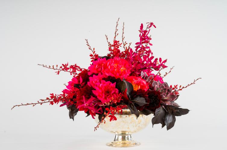 Striking Red Floral Statement - B Floral