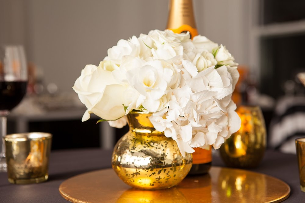 All white florals with gold vase- B Floral