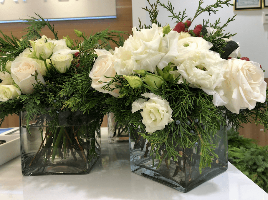 White florals & holiday greenery- B Floral