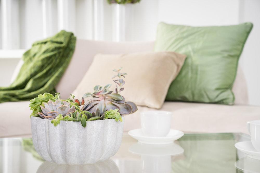 B Floral Succulent Table Arrangement