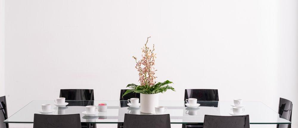 B Floral Conference Table Arrangement