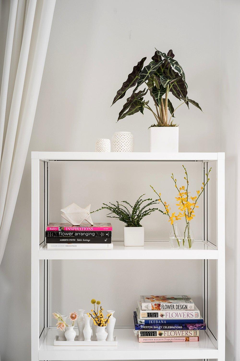 B Floral Bookcase Decor