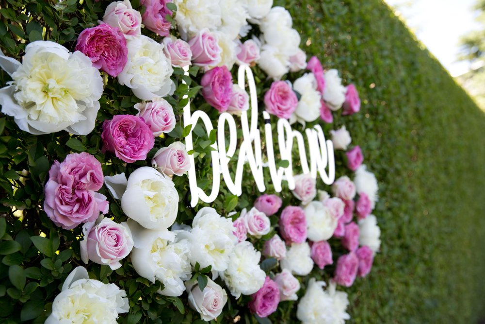 Floral Hedge With Neon Sign Details- B Floral