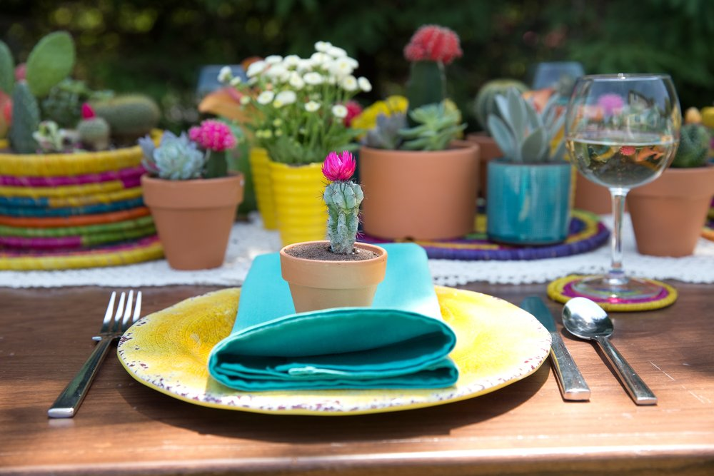 Colorful Cactus Table Setting- B Floral