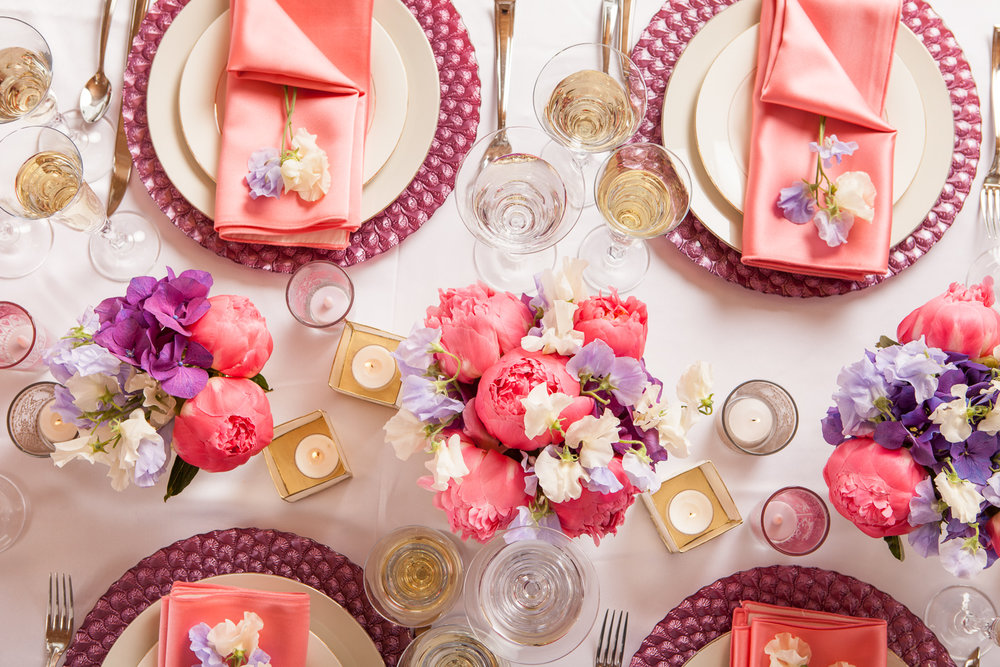 PINK AND PURPLE TABLE SCAPE - B FLORAL