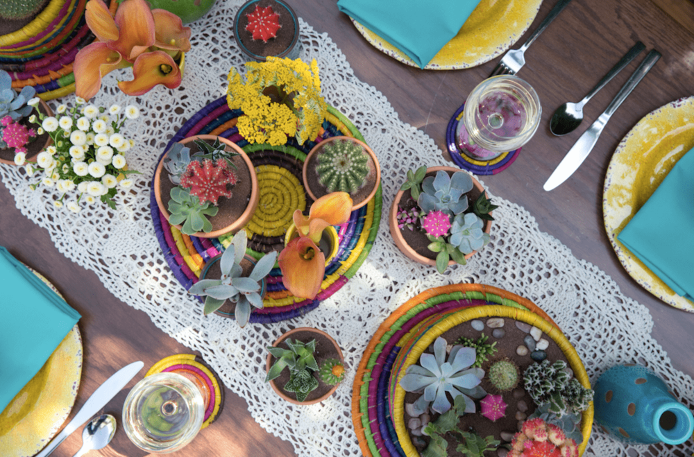 Colorful Succulent Tablescape - B Floral