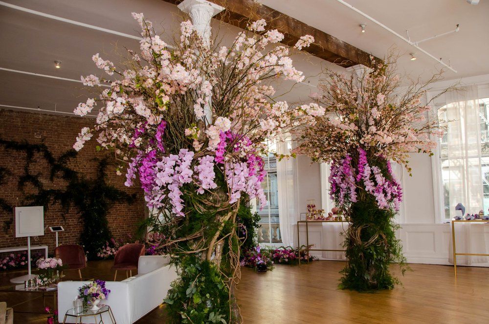 Orchid And Cherry Blossom Columns- B Floral