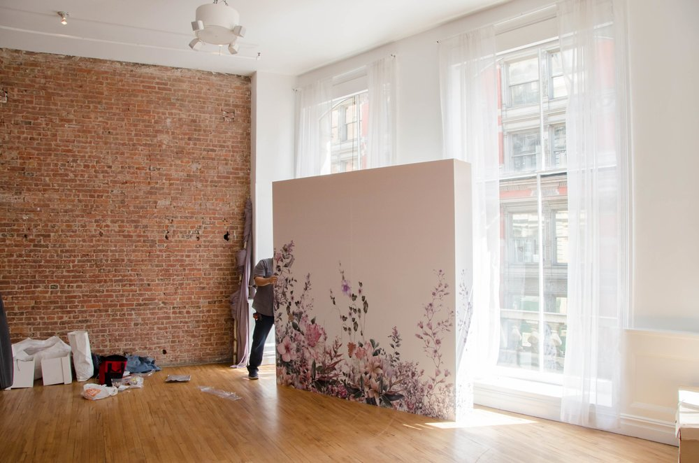 Early Stages of Flower Wall Construction- B Floral