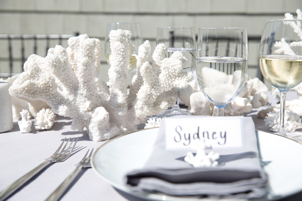 All White B Floral Table Name