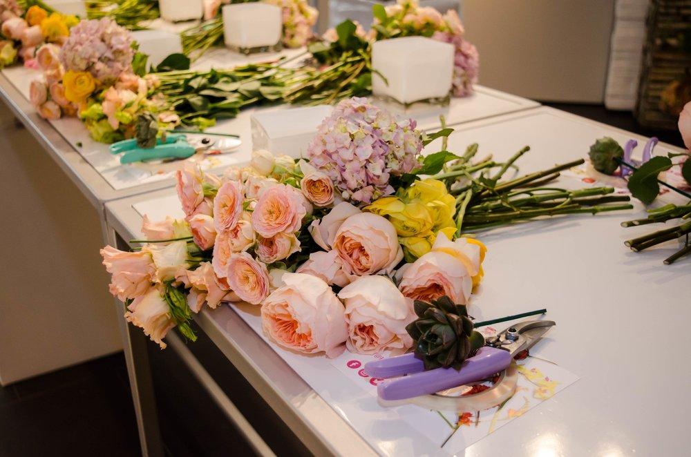 Flower Arranging Class Set Up- B Floral