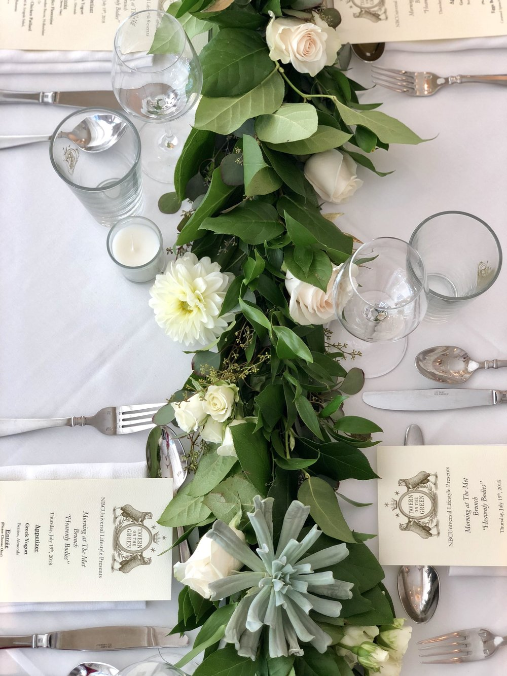 Greenery Table Runner Details for NBCUniversal- B Floral