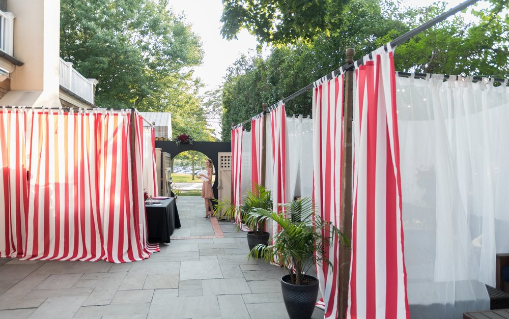 Circus Themed Event Striped Curtains- B Floral