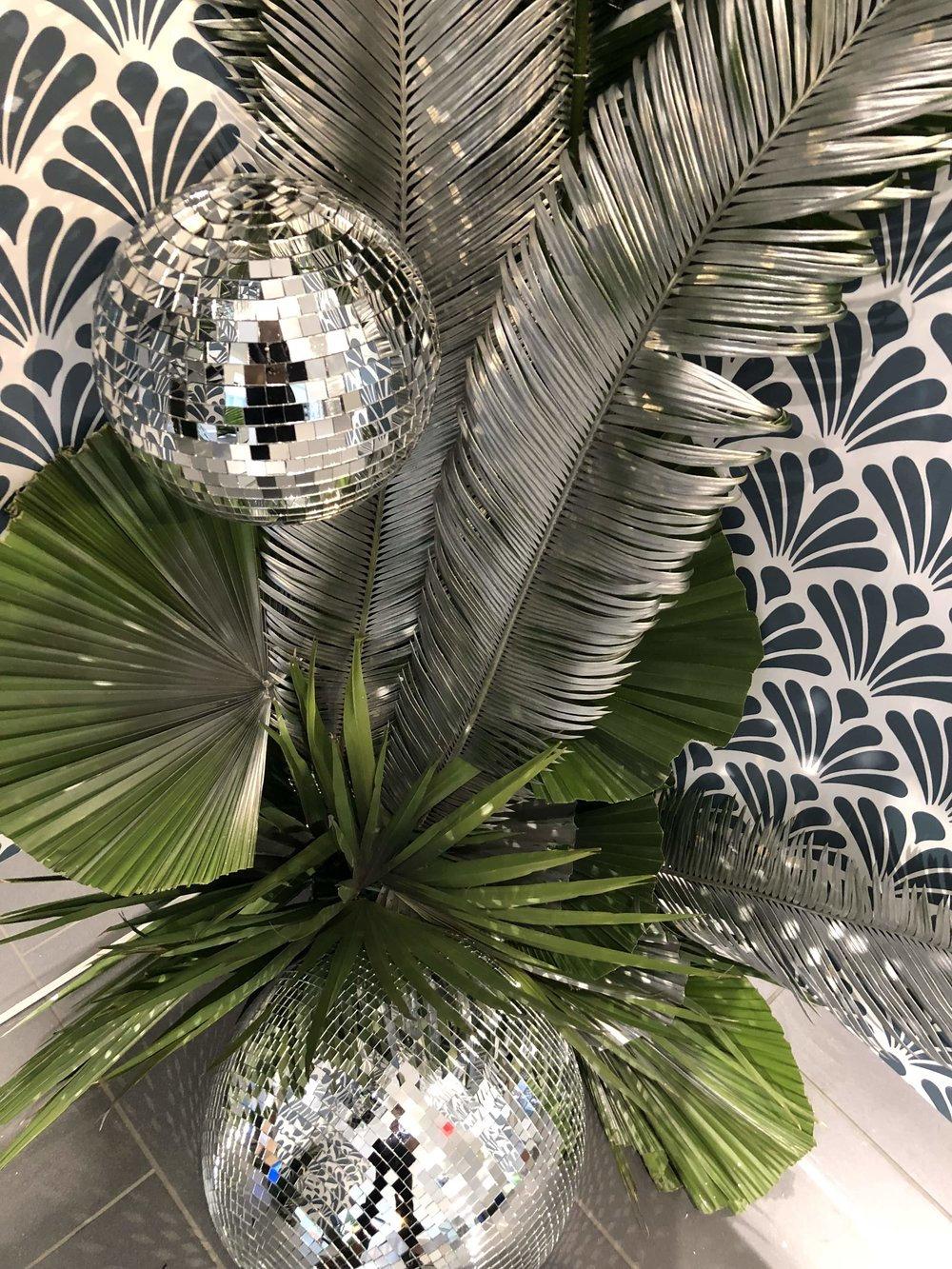 Disco Balls and Palm Leaf Accents- B Floral