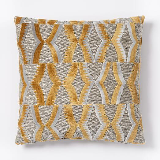 Jacquard Velvet Zip Pillow Cover - Dusty Gold