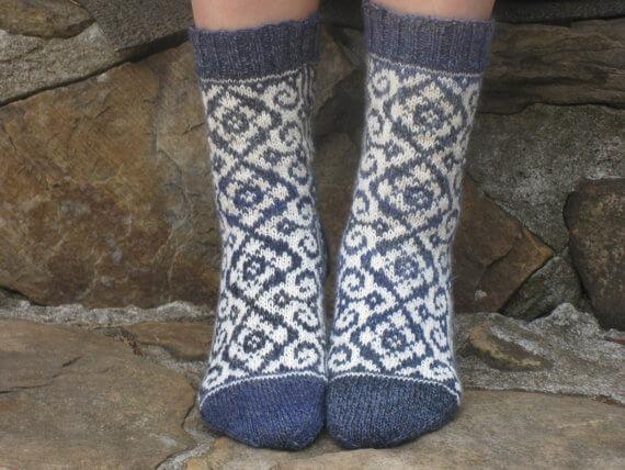 Hand Knit Fair Isle Merino Wool Socks