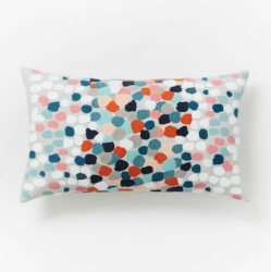Embroidered Confetti Pillow Cover in Blue Teal