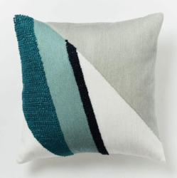 Crewel Diagonal Color Field Pillow Cover In Light Pool